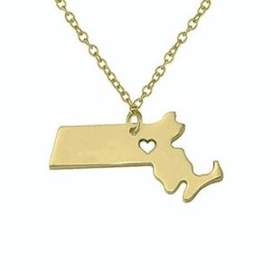 Jewelry - Gold Massachusetts Dainty State Charm Necklace